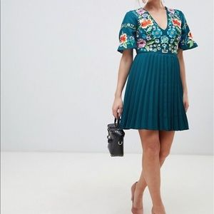 ASOS Pleated Mini Dress With Floral Embroidery